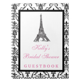 Eiffel Tower Paris Pink Custom Guest Book
