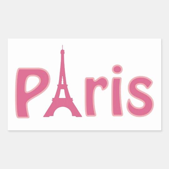 Eiffel tower paris pink text art sticker