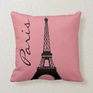 Eiffel Tower Paris Pink Throw Pillow