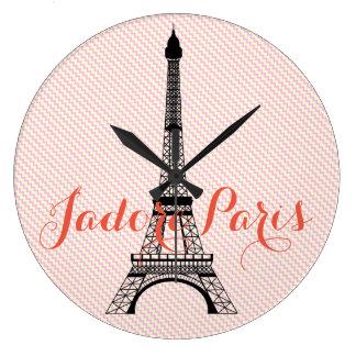 Eiffel tower Paris pink white chevron Large Clock