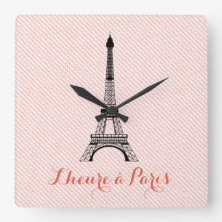 Eiffel tower Paris pink white chevron Square Wall Clock