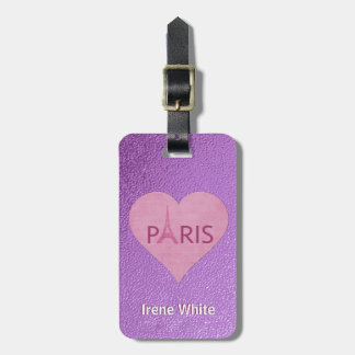 Eiffel Tower | Paris Purple Stylish Heart For Her Luggage Tag