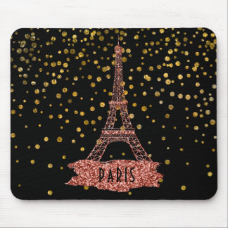 Eiffel Tower Paris | Rose Gold Glam Confetti Dots Mouse Pad
