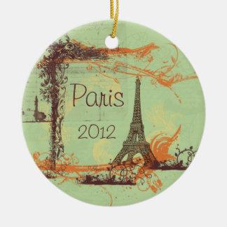 Eiffel Tower Paris Round Ceramic Ornament