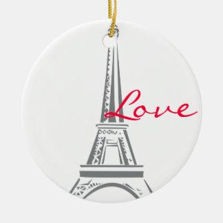 Eiffel Tower-Paris Round Ceramic Ornament
