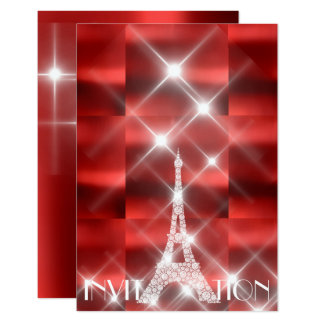Eiffel Tower Paris Sparkly Stars Red Wine Diamond Card