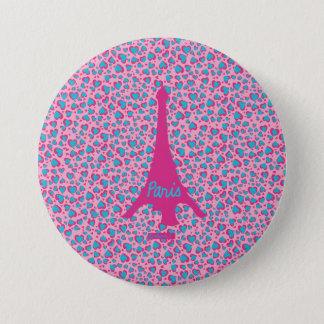 Eiffel Tower Paris swipes in 3 Inch Round Button