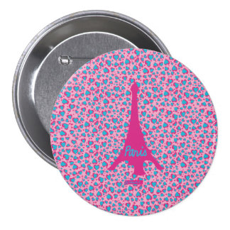 Eiffel Tower Paris swipes in 3 Inch Round Button