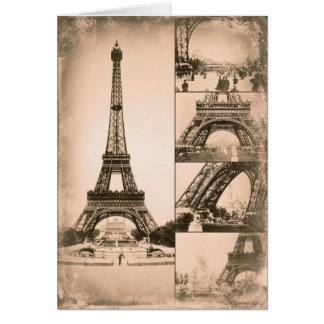 Eiffel Tower Paris Vintage Collage Card