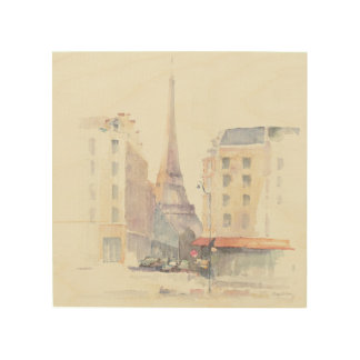 Eiffel Tower | Paris Watercolor Wood Wall Art