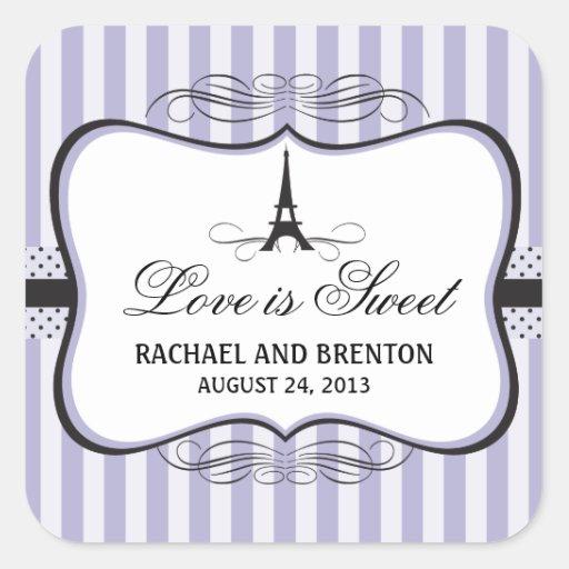 Eiffel Tower Paris Wedding Square Sticker
