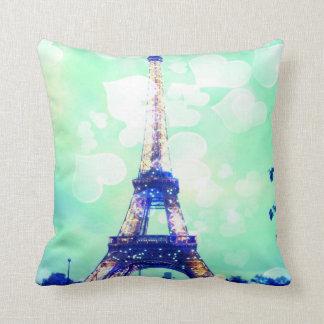 Eiffel Tower Pillow in Mint Green