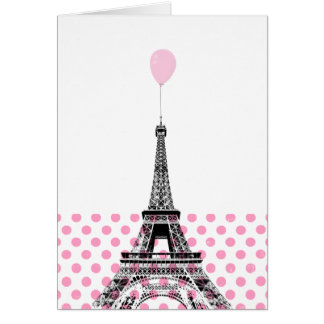 Eiffel Tower Pink Balloon Polka Dot Card