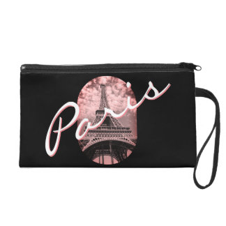 Eiffel Tower Pink Black Paris Purse Wristlet Purse