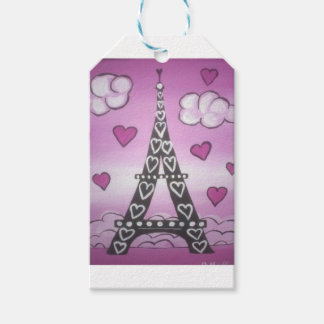 eiffel tower pink gift tags