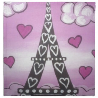 eiffel tower pink napkin