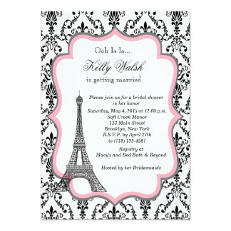 Eiffel Tower Pink Paris Bridal Shower Invitation