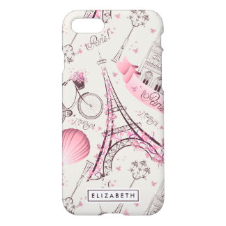 Eiffel Tower Pink Paris Zazzle iPhone 8/7 Case