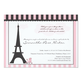"Eiffel Tower & Pink Poodle  Bridal Shower 5"" X 7"" Invitation Card"