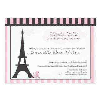 "Eiffel Tower & Pink Poodle  Bridal Shower 5"" X 7"" Invitation Card"