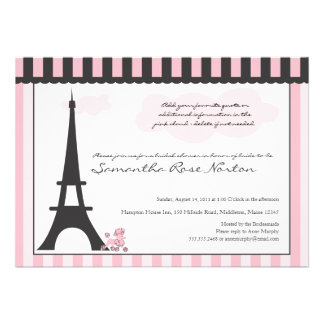 Eiffel Tower Pink Poodle Bridal Shower Personalized Announcement