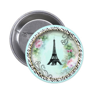 Eiffel Tower Pink Roses and Zebra Print 2 Inch Round Button