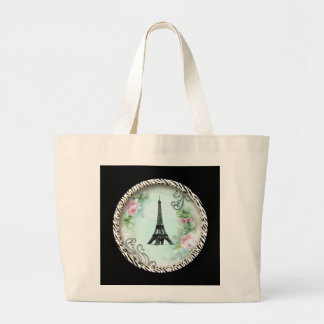 Eiffel Tower Pink Roses and Zebra Print Tote Bags