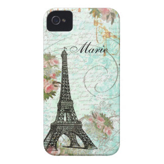 Eiffel Tower & Pink Roses iPhone 4 Cover