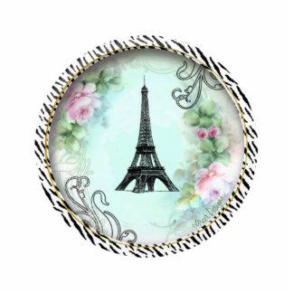 Eiffel Tower Pink Roses n Zebra Print Ornament Standing Photo Sculpture