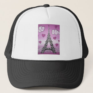 eiffel tower pink trucker hat