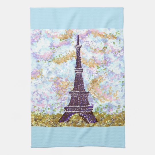 Eiffel Tower Pointillism kitchen towel