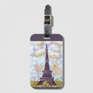 Eiffel Tower Pointillism luggage tag
