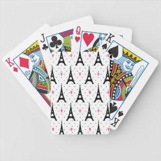 Eiffel Tower Polka Dots & Hearts Pattern Bicycle Playing Cards