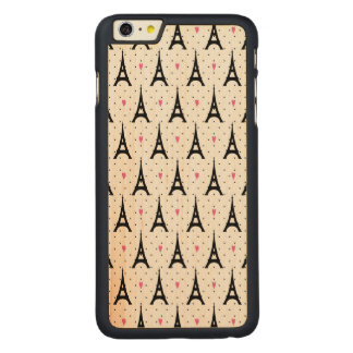 Eiffel Tower Polka Dots & Hearts Pattern Carved Maple iPhone 6 Plus Case