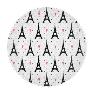 Eiffel Tower Polka Dots & Hearts Pattern Cutting Board
