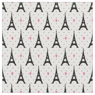 Eiffel Tower Polka Dots & Hearts Pattern Fabric