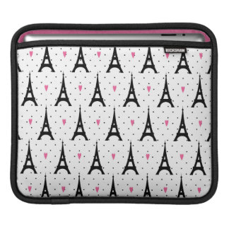Eiffel Tower Polka Dots & Hearts Pattern iPad Sleeve