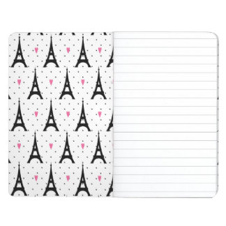 Eiffel Tower Polka Dots & Hearts Pattern Journal