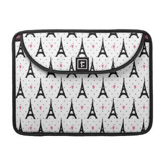 Eiffel Tower Polka Dots & Hearts Pattern MacBook Pro Sleeve
