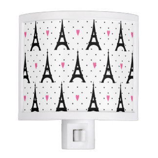 Eiffel Tower Polka Dots & Hearts Pattern Nite Light