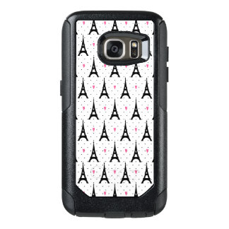 Eiffel Tower Polka Dots & Hearts Pattern OtterBox Samsung Galaxy S7 Case