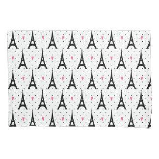 Eiffel Tower Polka Dots & Hearts Pattern Pillowcase