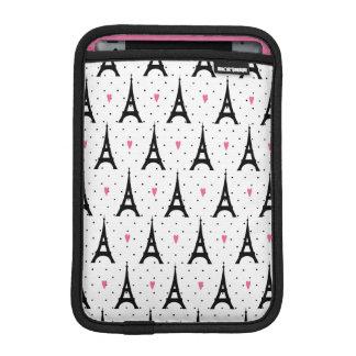 Eiffel Tower Polka Dots & Hearts Pattern Sleeve For iPad Mini