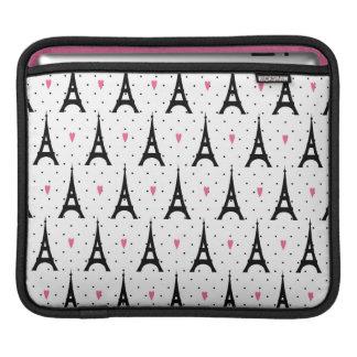 Eiffel Tower Polka Dots & Hearts Pattern Sleeve For iPads