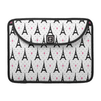 Eiffel Tower Polka Dots & Hearts Pattern Sleeve For MacBook Pro