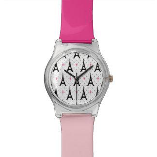 Eiffel Tower Polka Dots & Hearts Pattern Watch