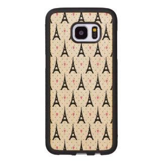 Eiffel Tower Polka Dots & Hearts Pattern Wood Samsung Galaxy S7 Edge Case