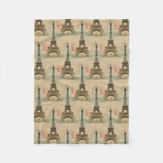 Eiffel Tower Postcard Fleece Blanket