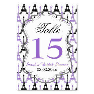 Eiffel tower Purple Personalized table numbers Table Cards