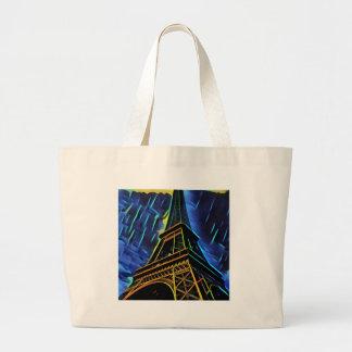 Eiffel Tower Rain Large Tote Bag